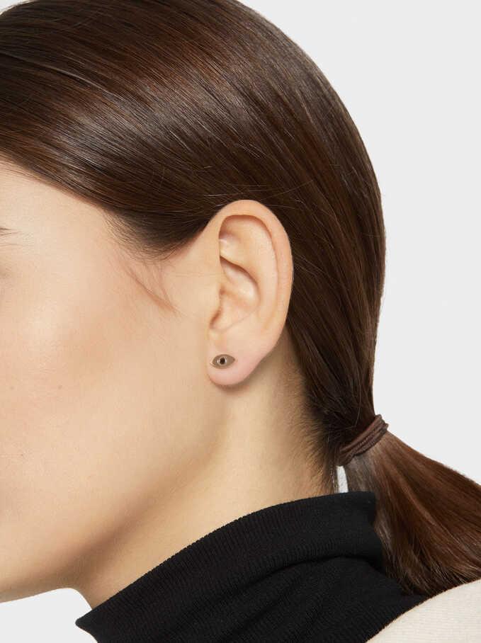 Short Steel Earrings With Rhinestone, Orange, hi-res