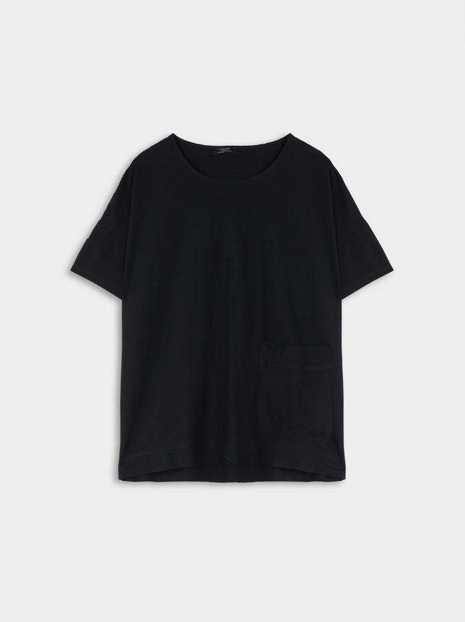 Camiseta Escote Redondo Y Bolsillo, Negro, hi-res