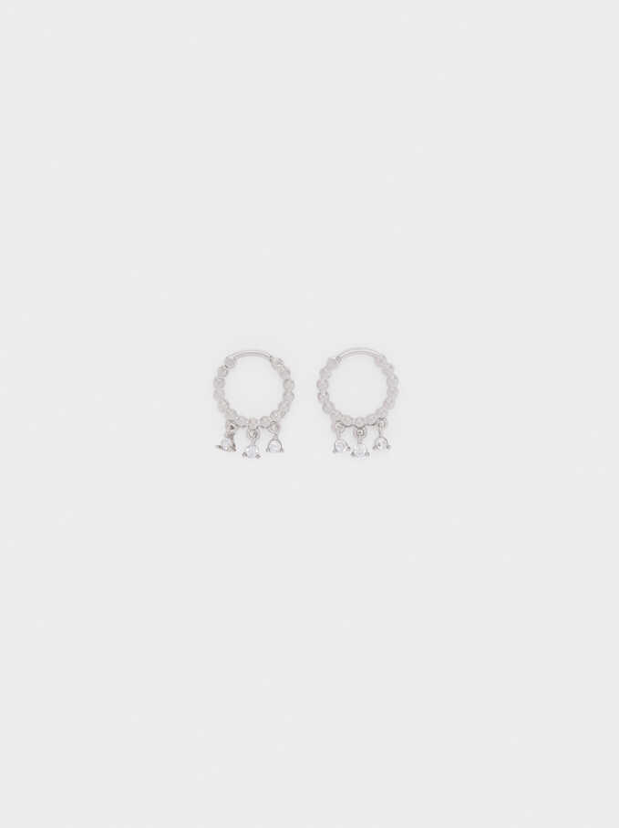 Stainless Steel Small Hoop Earrings, Silver, hi-res