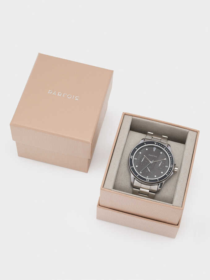 Stainless Steel Watch With Stopwatch, Silver, hi-res