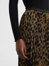 Animal Print Pleated Skirt, Khaki, hi-res