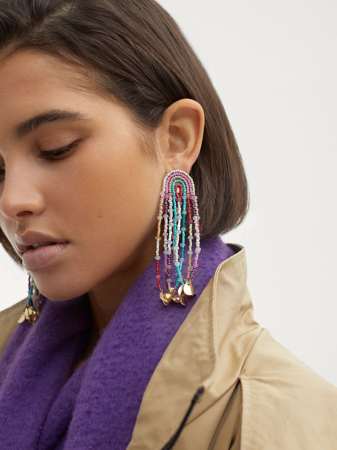 Extra Long Earrings With Beads, Multicolor, hi-res