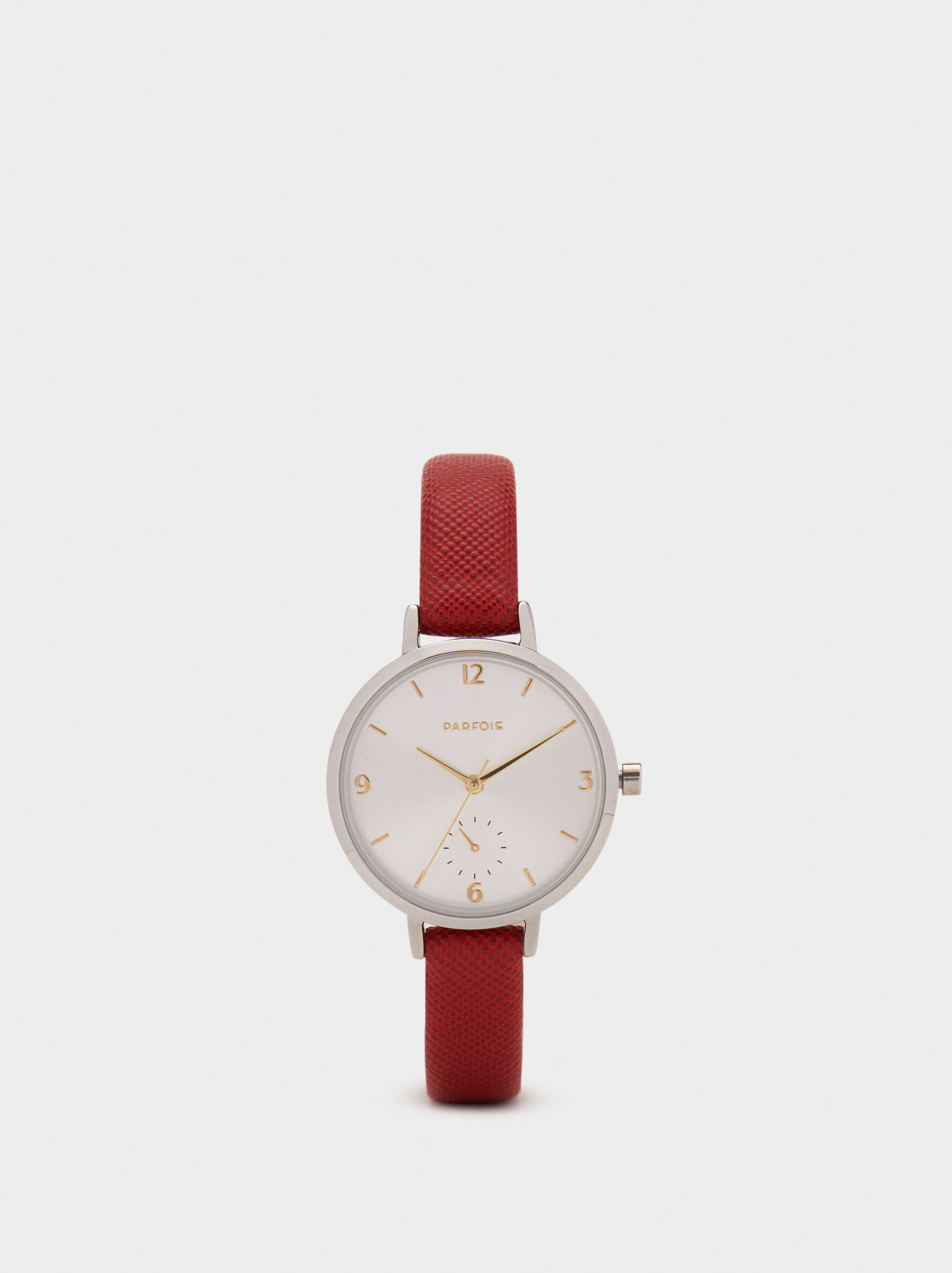Watch With Textured Leather Wristband, Red, hi-res