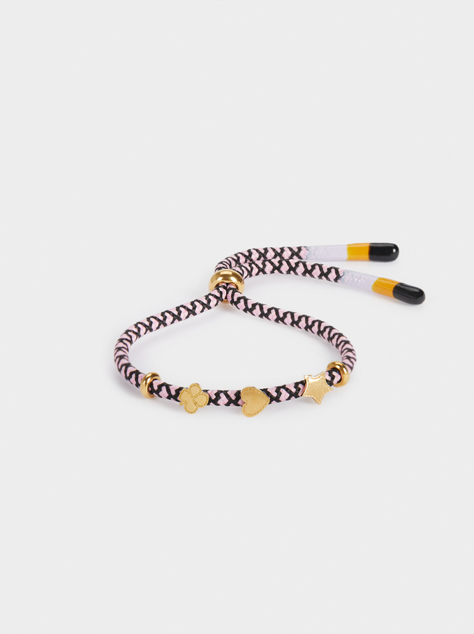 Multicoloured Adjustable Stainless Steel Bracelet, Pink, hi-res