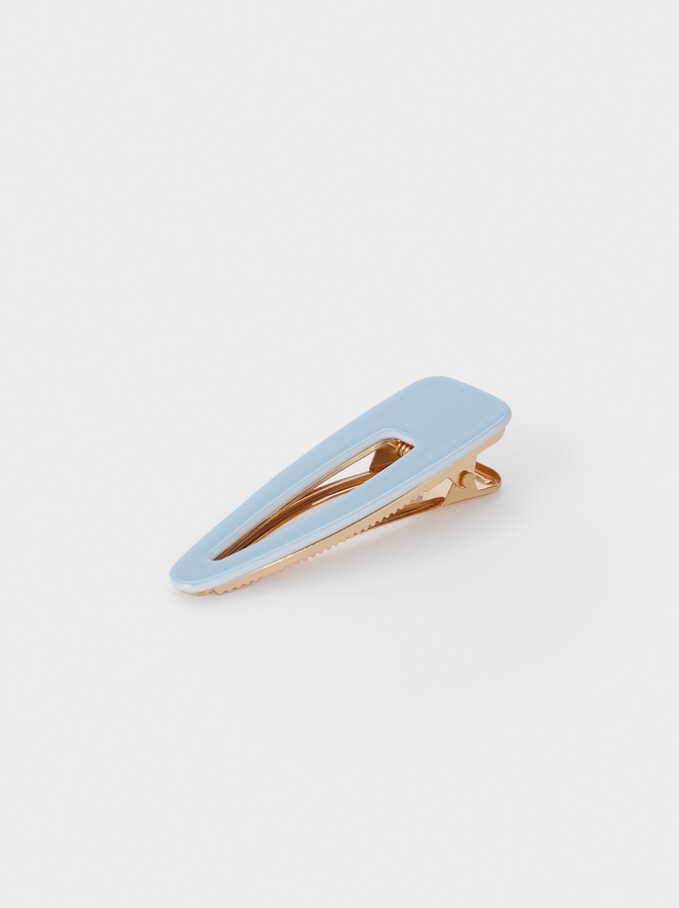 Plain Hair Clip, Blue, hi-res