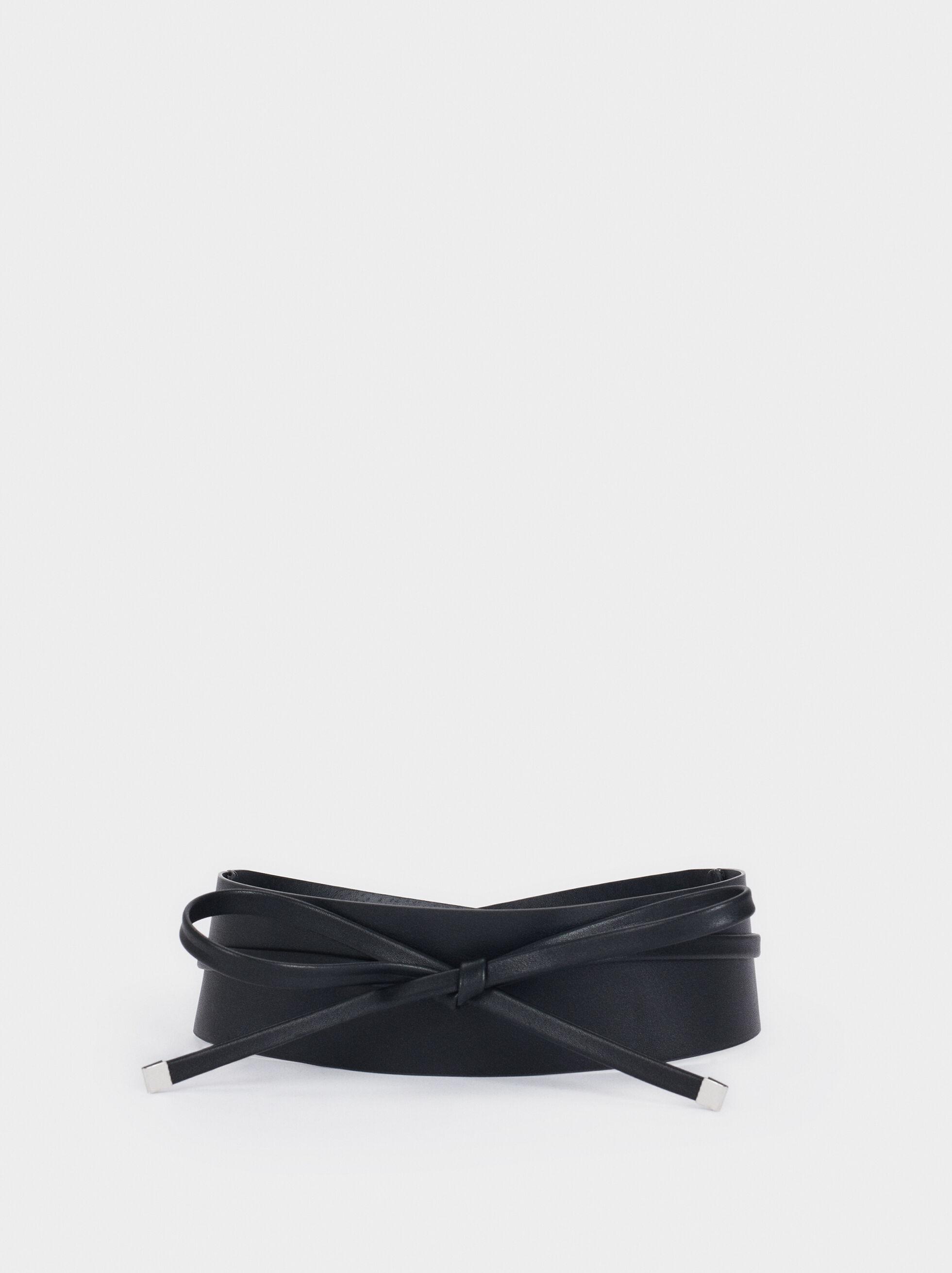 Leather Texture Long Belt, , hi-res