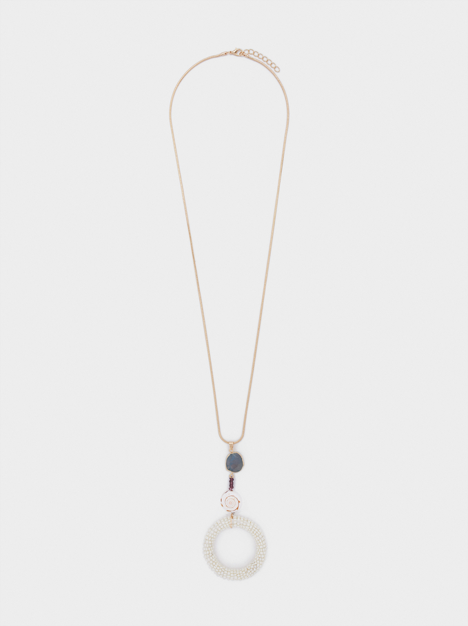 Long Necklace With Stone And Beads, Multicolor, hi-res