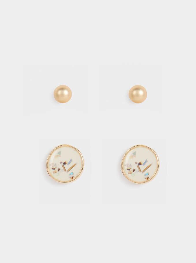 Set Of Earrings With Enamel, Multicolor, hi-res