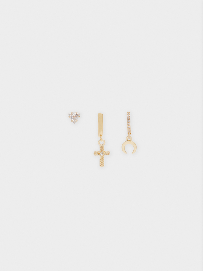 Set Of Earrings With Charms And Crystals, Golden, hi-res