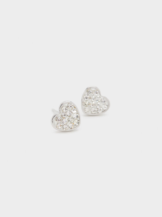 Short Steel Earrings With Heart, Silver, hi-res