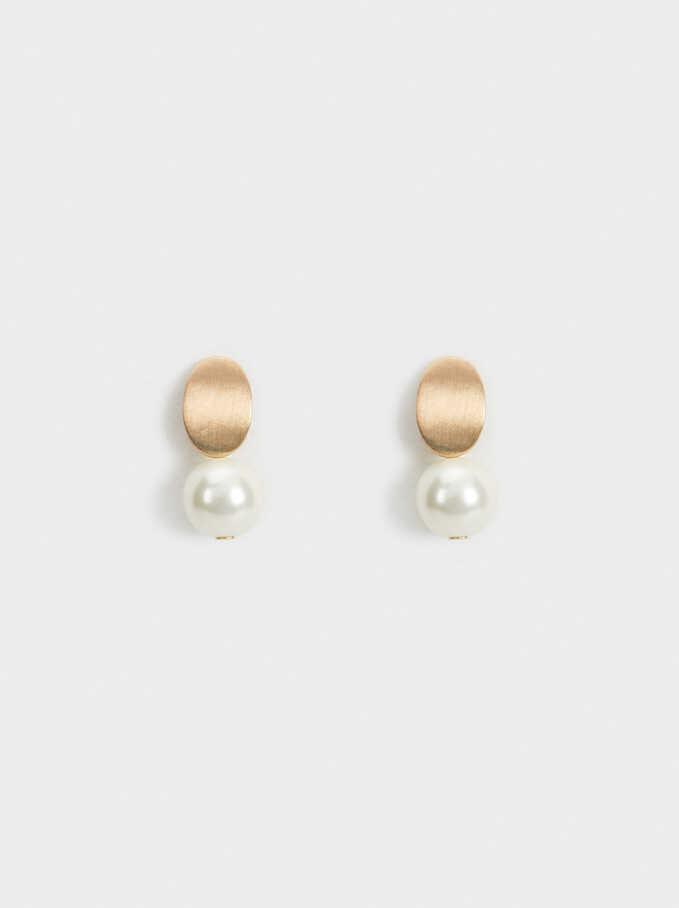 Stone Stud Earrings, White, hi-res