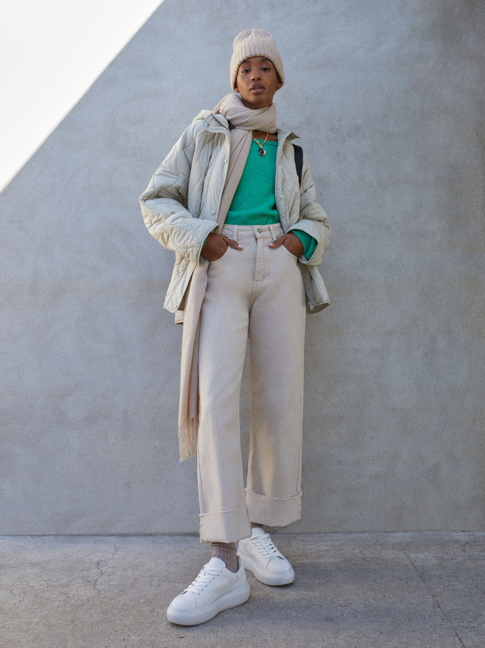 Bell-Bottom Trousers, Beige, hi-res