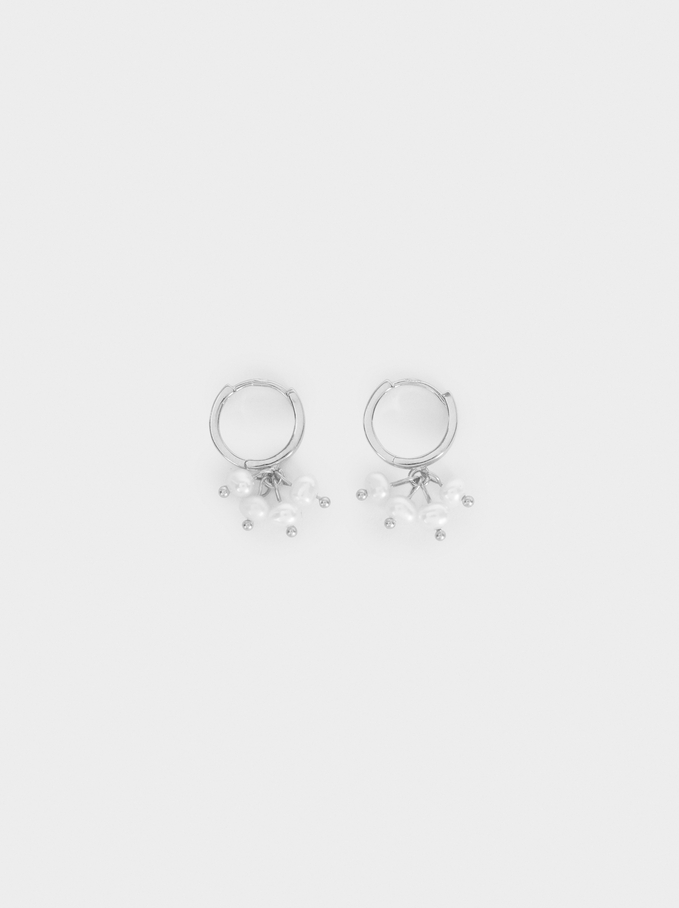 Small 925 Sterling Silver Hoops With Stones, Beige, hi-res