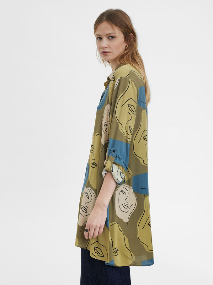 Printed Shirt Dress, Brown, hi-res