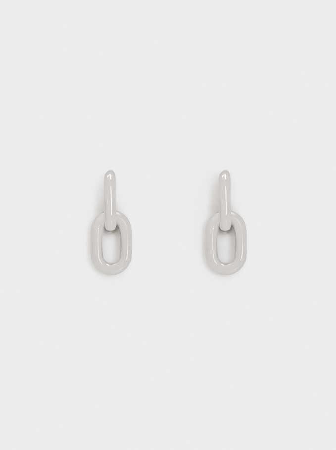 Stainless Steel Links Hoop Earrings, Silver, hi-res