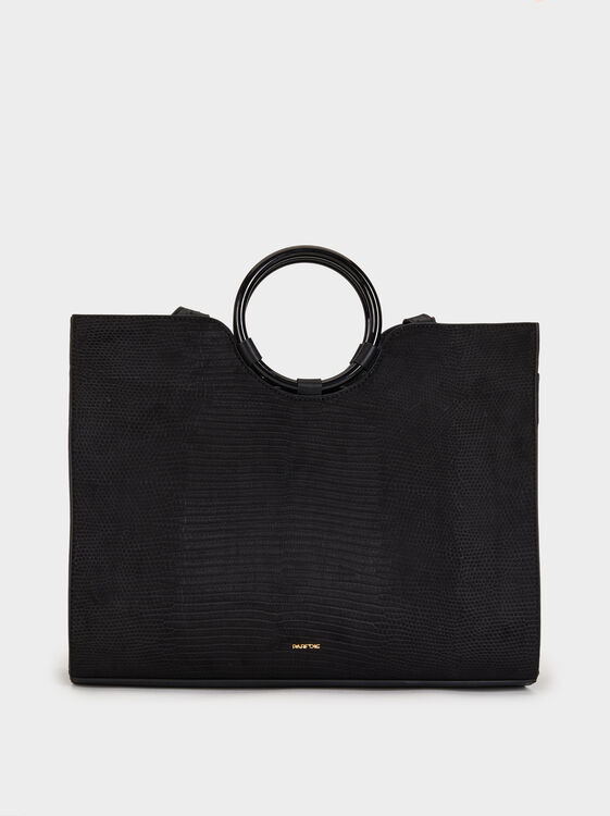 Embossed Faux Suede Tote Bag, , hi-res
