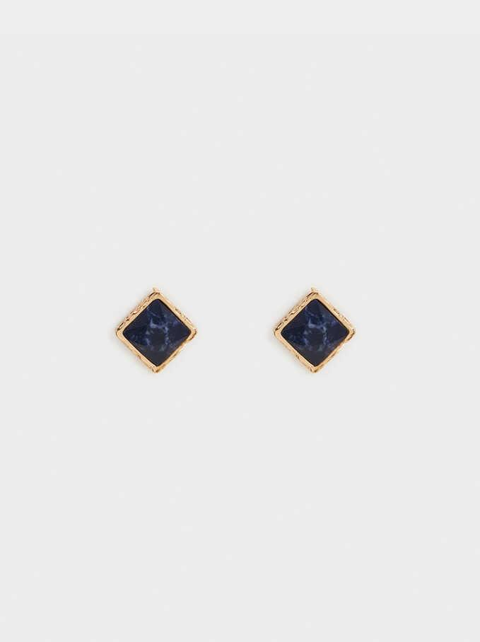 Bambu Short Earrings, Blue, hi-res