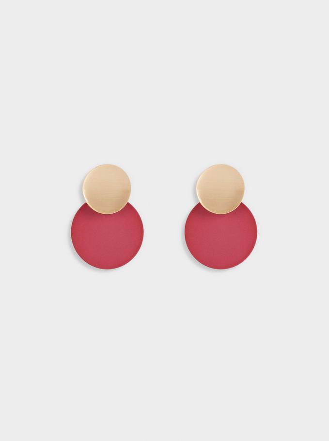 Geometric Earrings, Bordeaux, hi-res