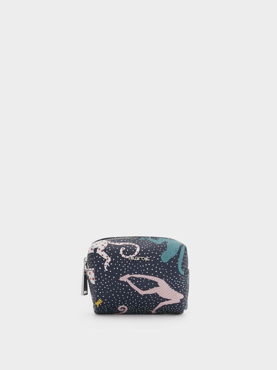 Small Monkey Print Coin Purse, Navy, hi-res
