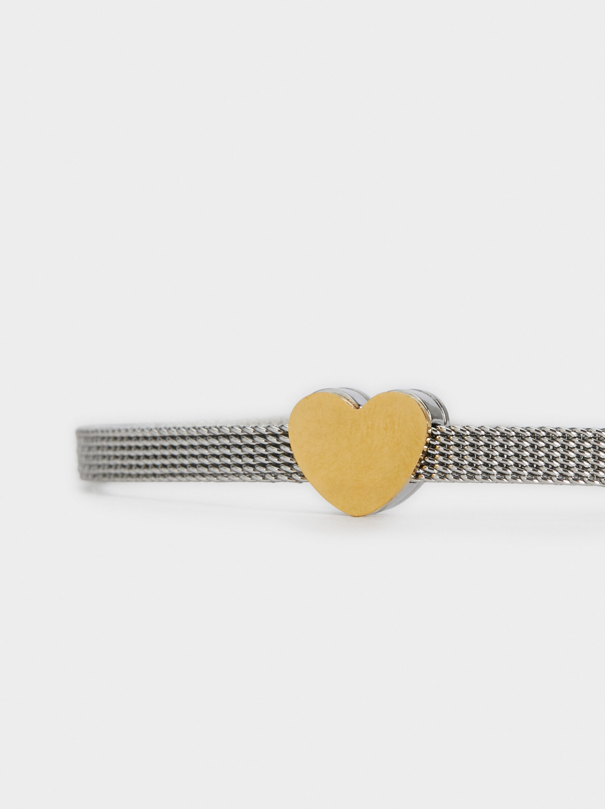 Steel Arm Cuff With Heart, Multicolor, hi-res