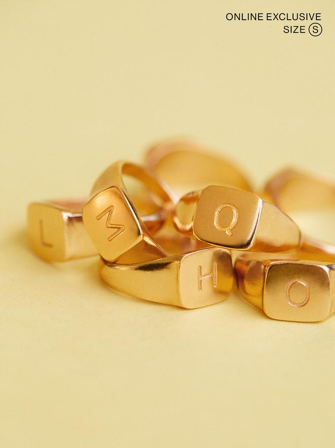 Signet Ring Size S, Golden, hi-res