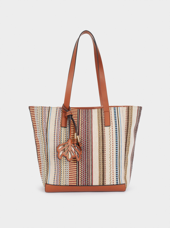 Fabric Tote Bag With Removable Inner Section, Camel, hi-res
