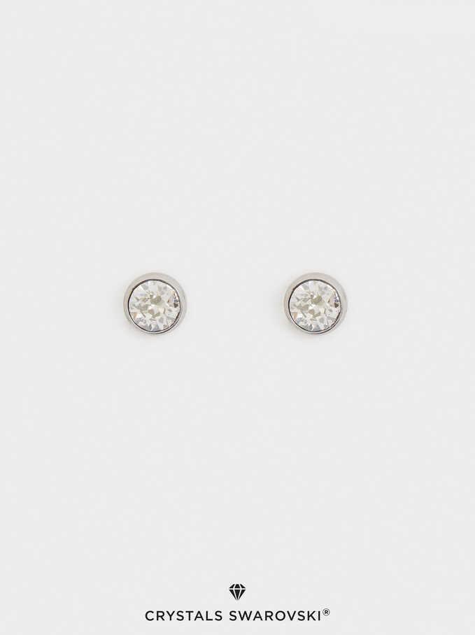 Pendientes Cortos De Acero Con Cristales Swarovski, Plateado, hi-res