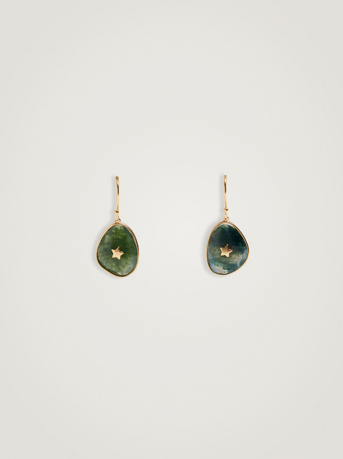Short 925 Silver Earrings With Stone, Green, hi-res