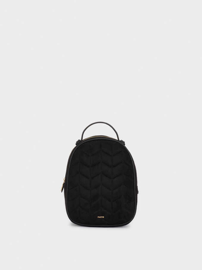 Textured Suede Backpack, Black, hi-res