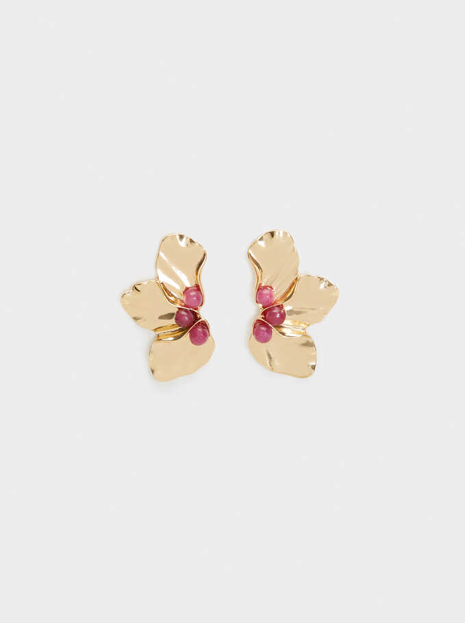 Flower Studs, Pink, hi-res