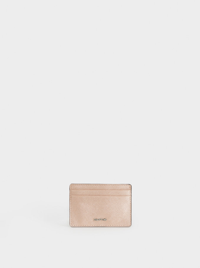 Faux Leather Card Holder, Orange, hi-res