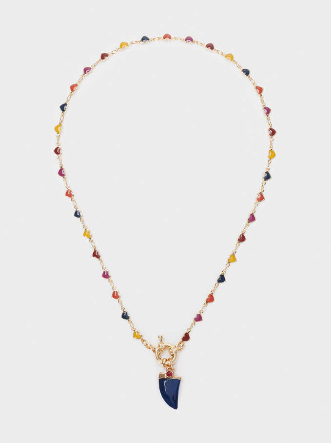 Short Multicoloured Horn Necklace, Multicolor, hi-res
