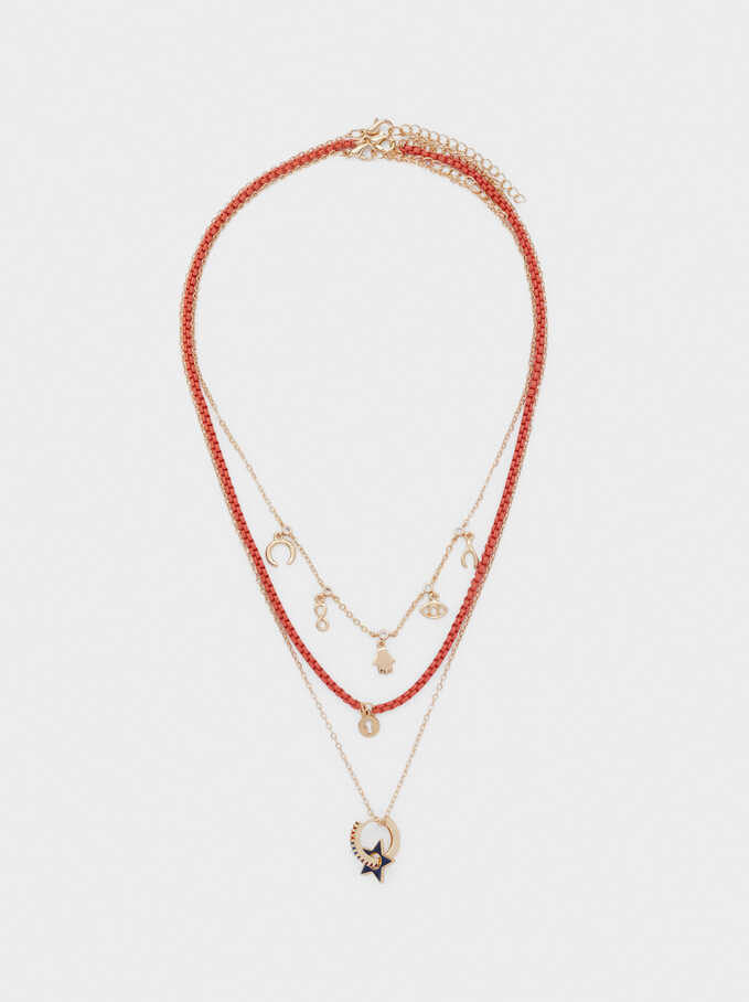 Set Of Necklaces With Charms And Zirconia, Multicolor, hi-res