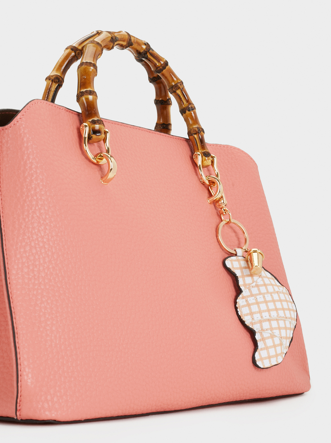 Briefcase With Faux Bamboo Top Handle, Coral, hi-res
