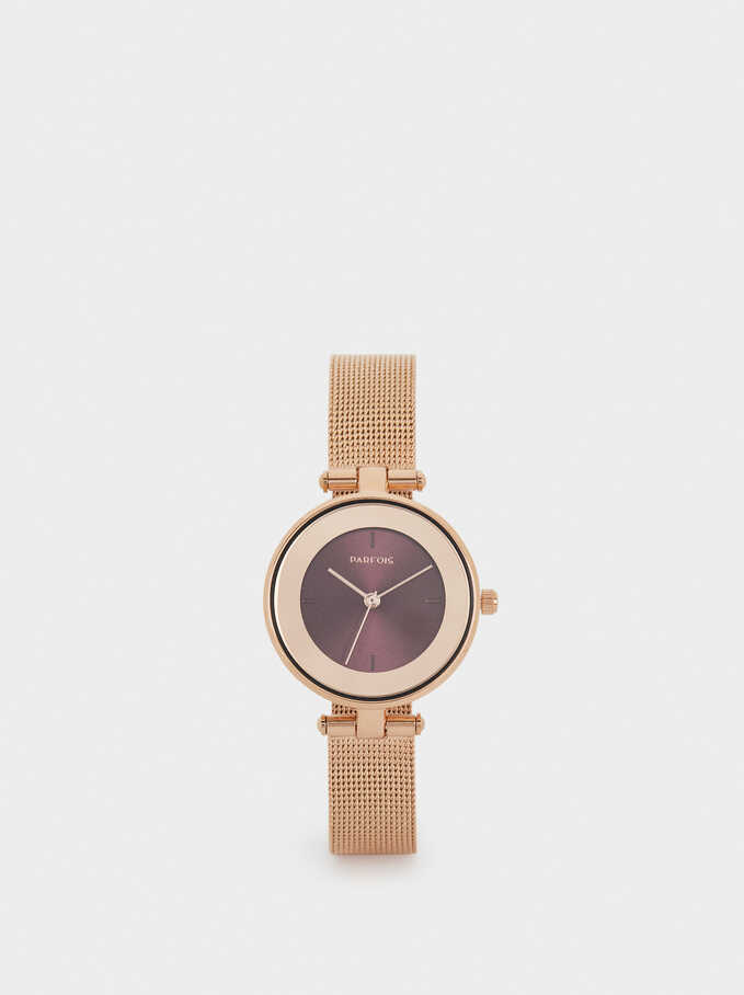 Watch With Metal Mesh Strap And Contrasting Face, Orange, hi-res