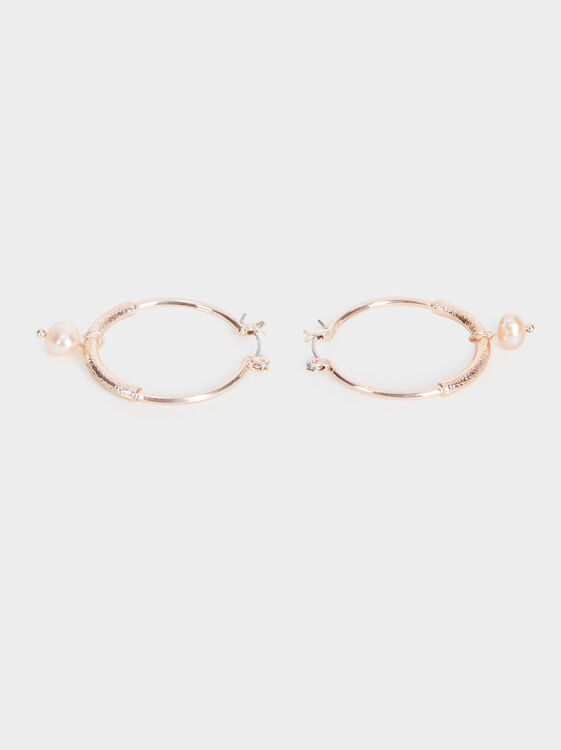 Medium-Sized Pink Desert Hoop Earrings With Faux P, Orange, hi-res