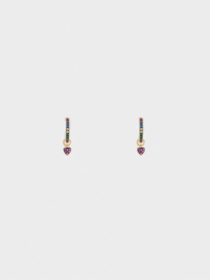 Petites Créoles En Argent 925 Cœur, Multicolore, hi-res