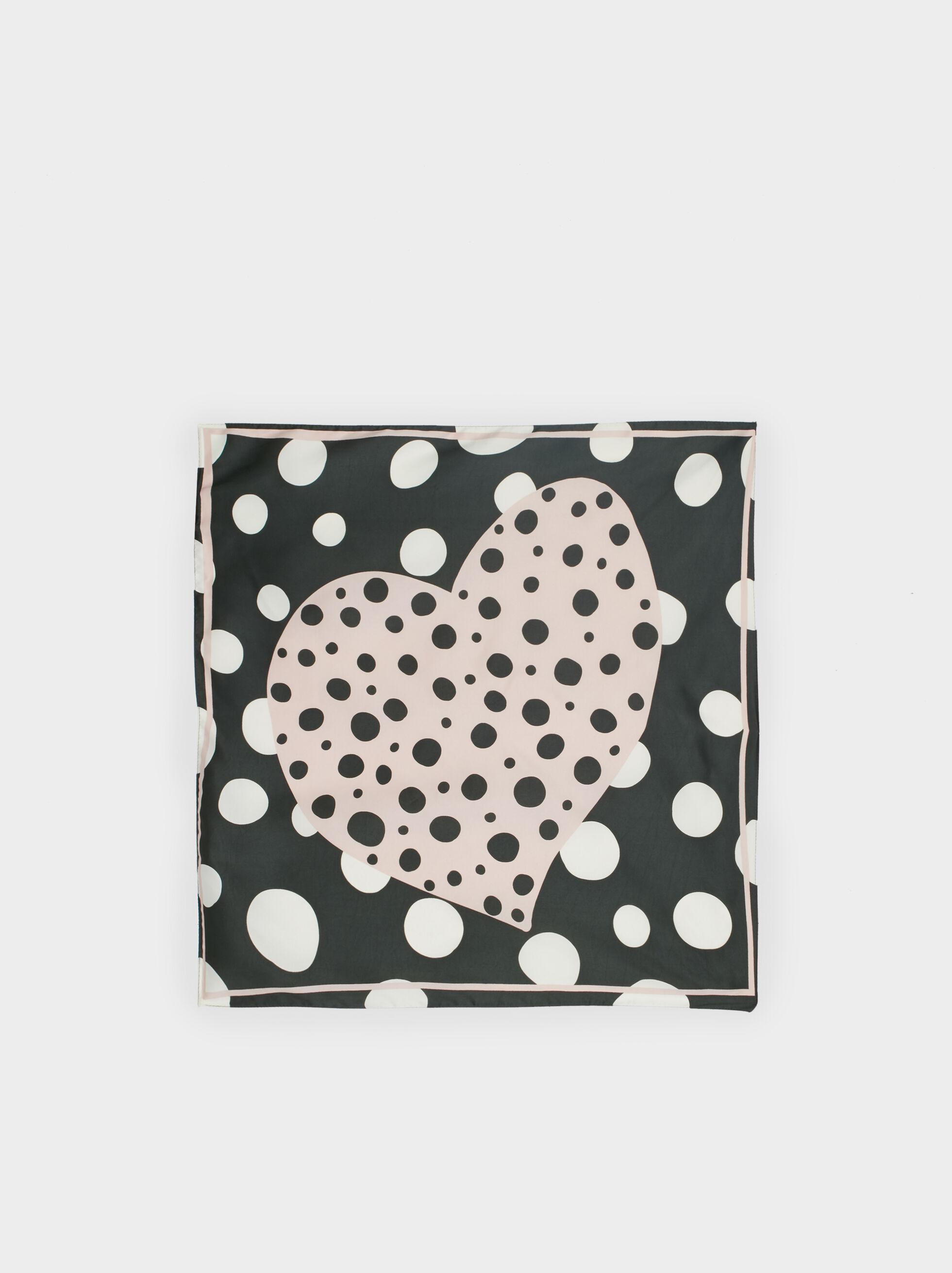 Heart Print Square Scarf, Multicolor, hi-res
