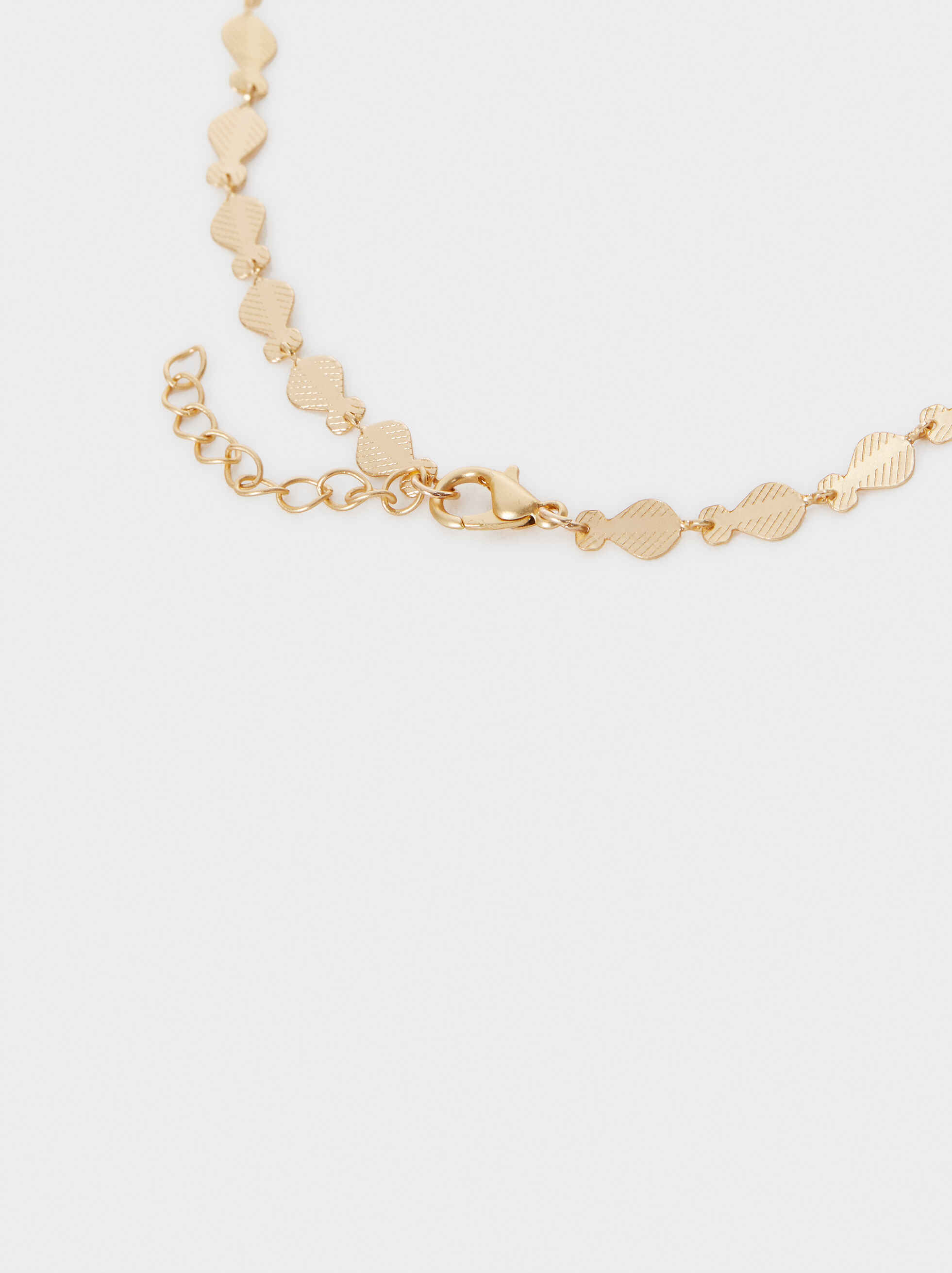 Long Gold Necklace With Stones, Multicolor, hi-res