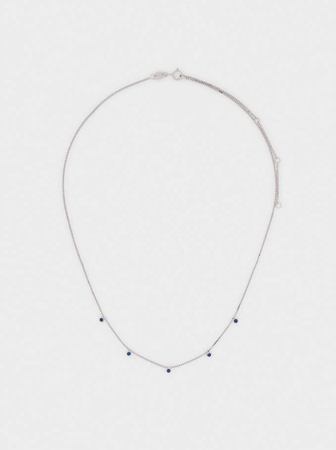 Short 925 Silver Necklace With Rhinestones, Blue, hi-res