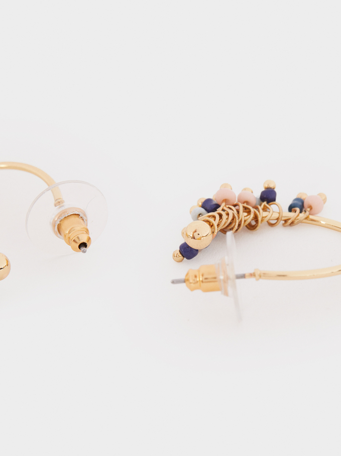 Small Hoop Earrings With Multicoloured Beading, Multicolor, hi-res