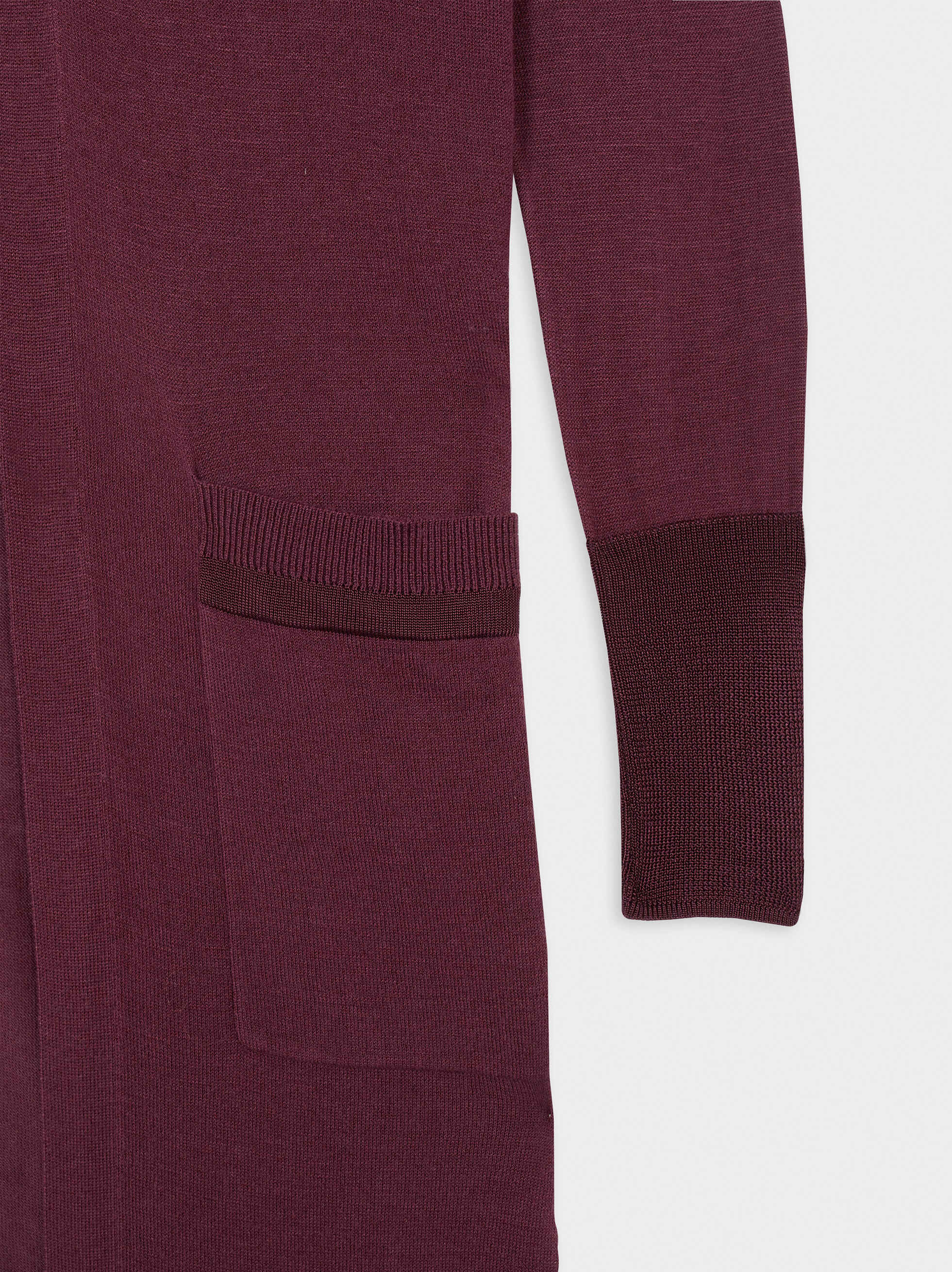 Long Knit Cardigan, Bordeaux, hi-res
