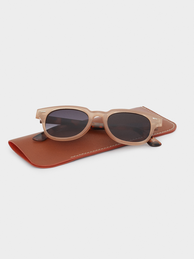 Sunglasses With Resin Frame, Pink, hi-res