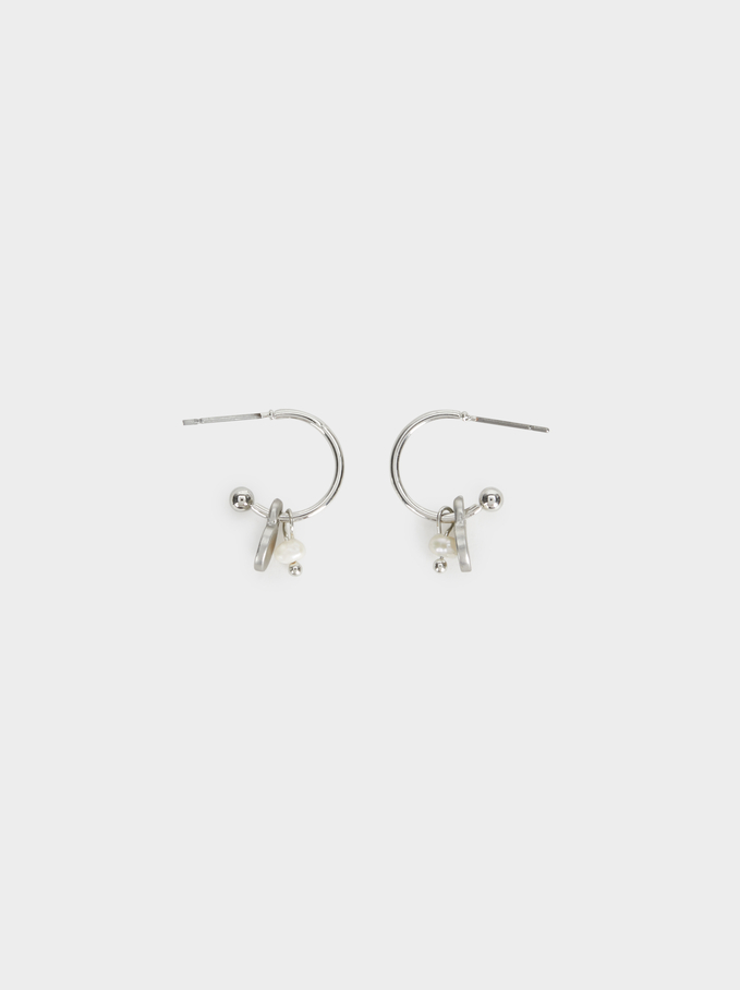 Small Hoop Earrings With Charms, Silver, hi-res