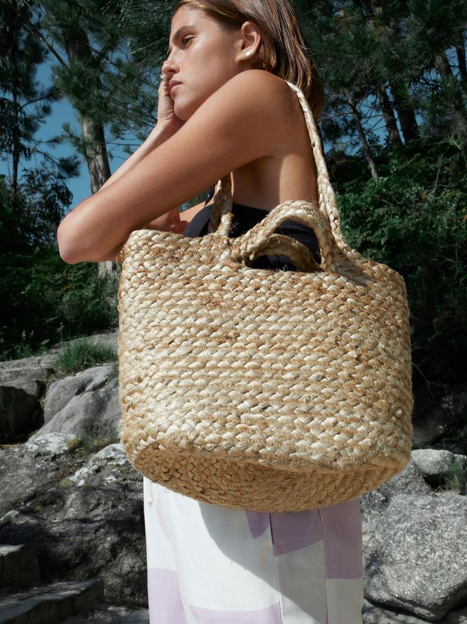 Jute Shopper Bag With Tassels, Beige, hi-res