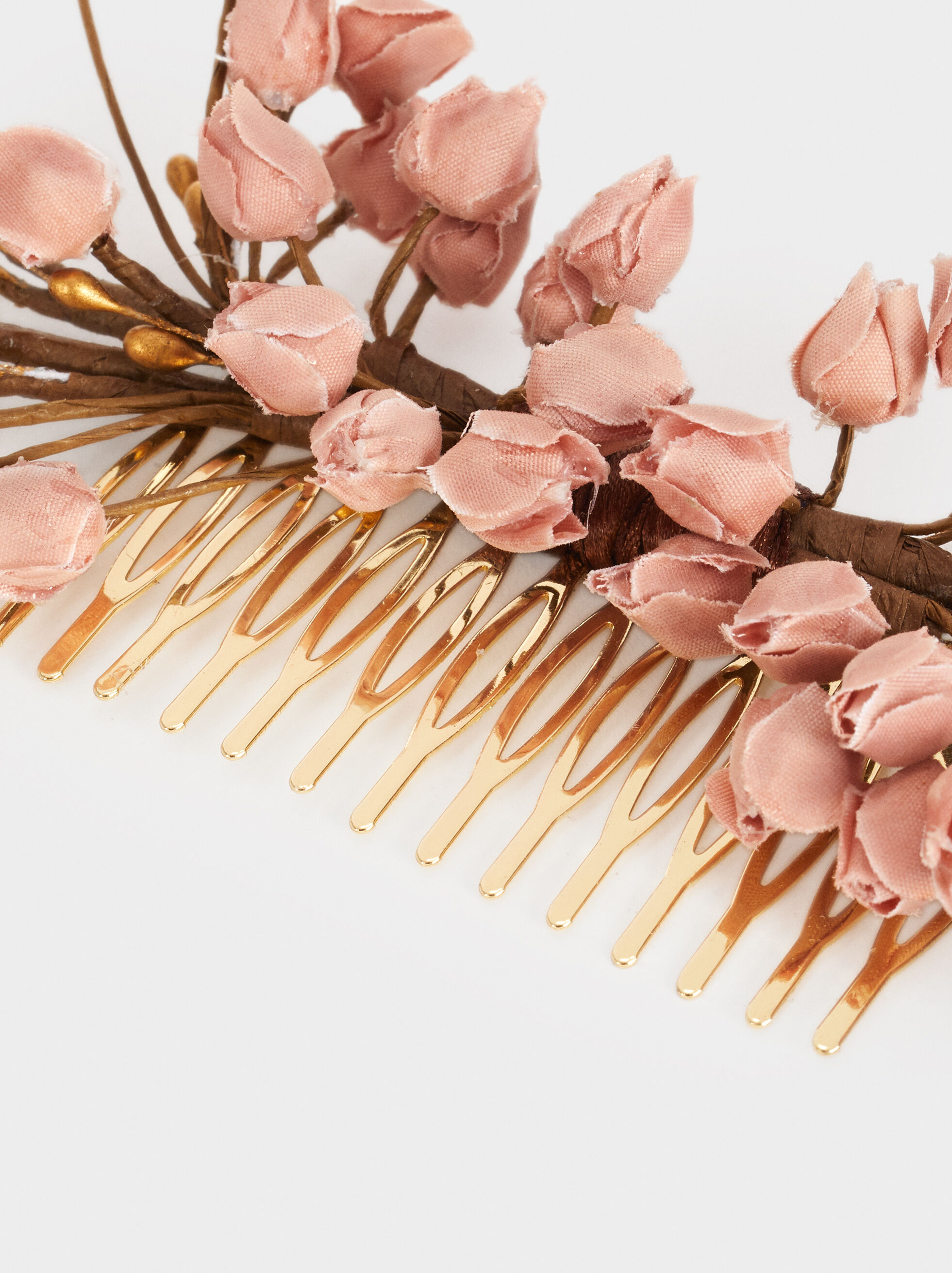 Comb With Floral Detail, Pink, hi-res