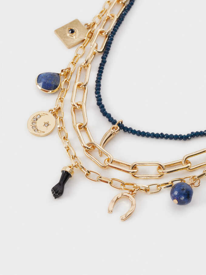 Set Of Gold Necklaces, Navy, hi-res