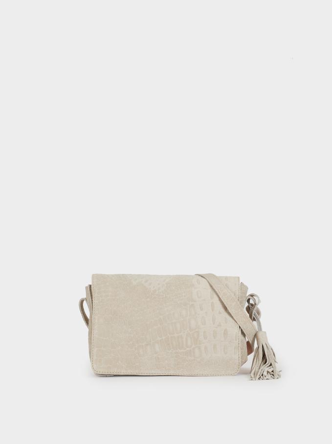Suede Cross Bag, Grey, hi-res