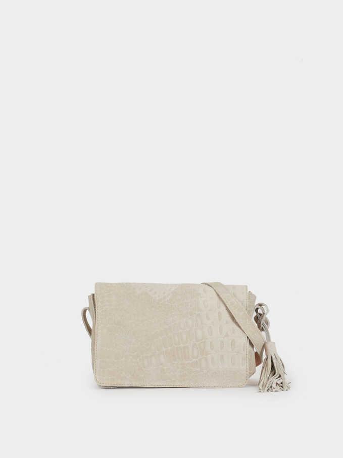 Suede Crossbody Bag, Grey, hi-res