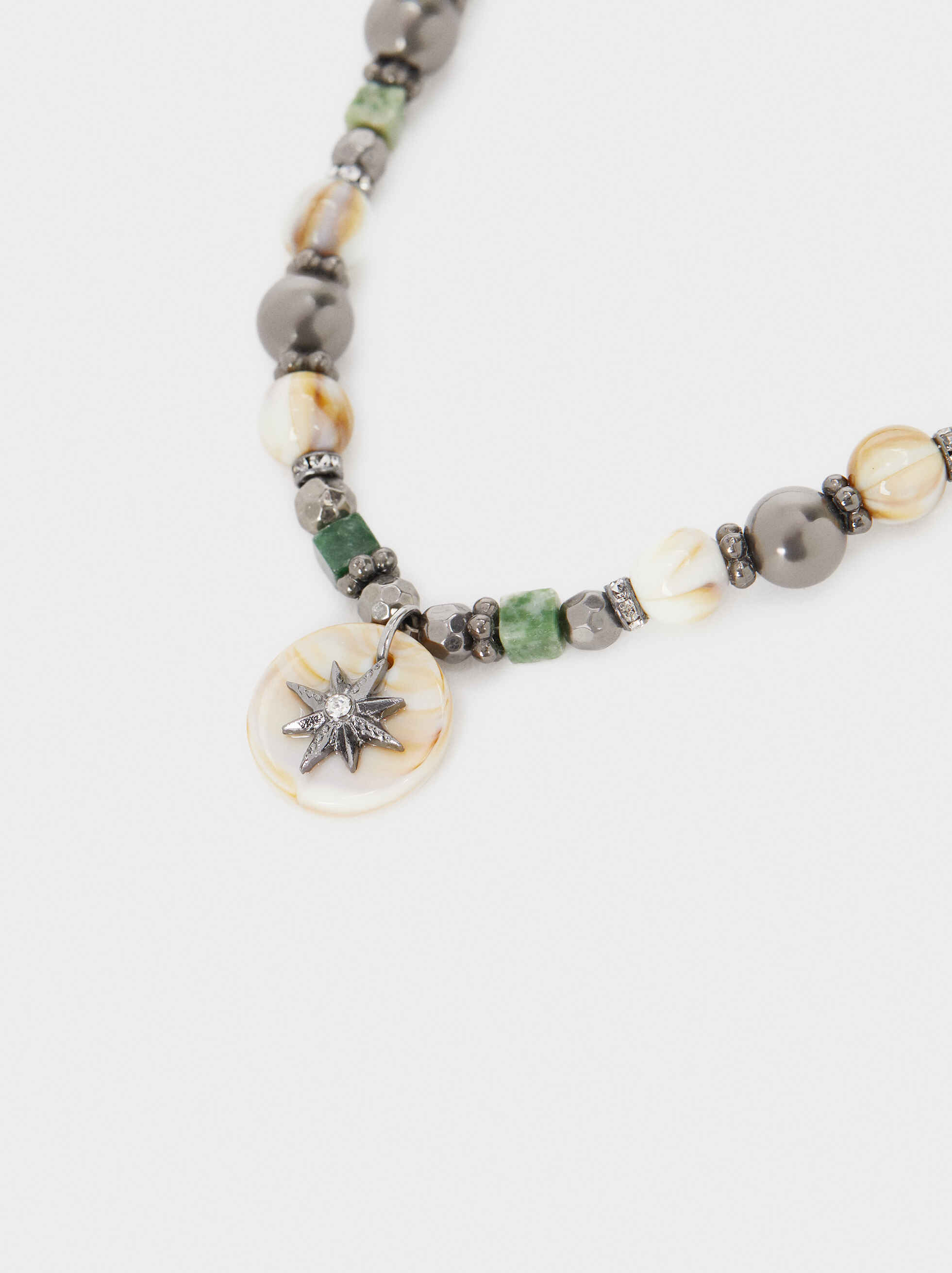 Short Necklace With Multicoloured Stone And Beads, Multicolor, hi-res